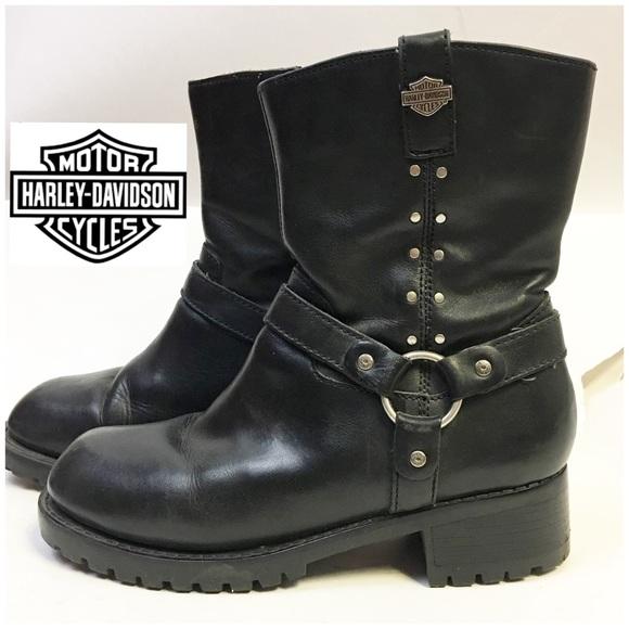 Women's Blk leather Harley Davidson biker boots 8